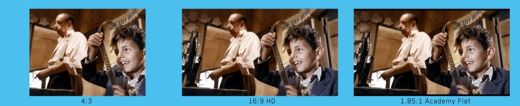 4 3 tv television standard definition 16 9 vs 1 85 aspect ratio letterbox cinema paradiso projectionist alfredo philippe noiret salvatore di vita salvatore cascio film reel projection booth celluloid image