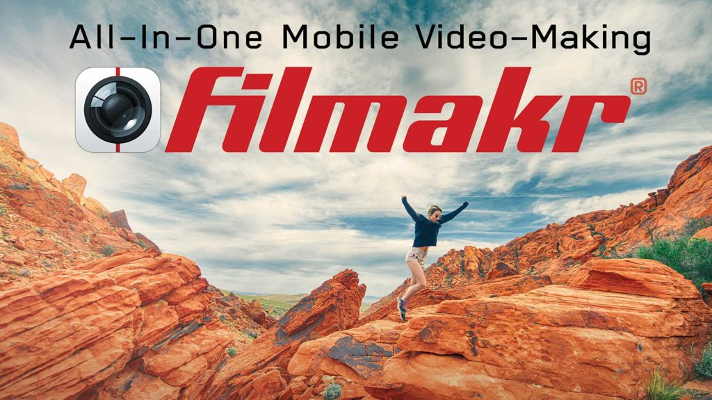 all in one mobile video editing camera app intuitive ui shoot film shot stitcher cutpoint looping preview variable speed rack focus drag drop b-roll follow filmakr girl jump desert outdoors image