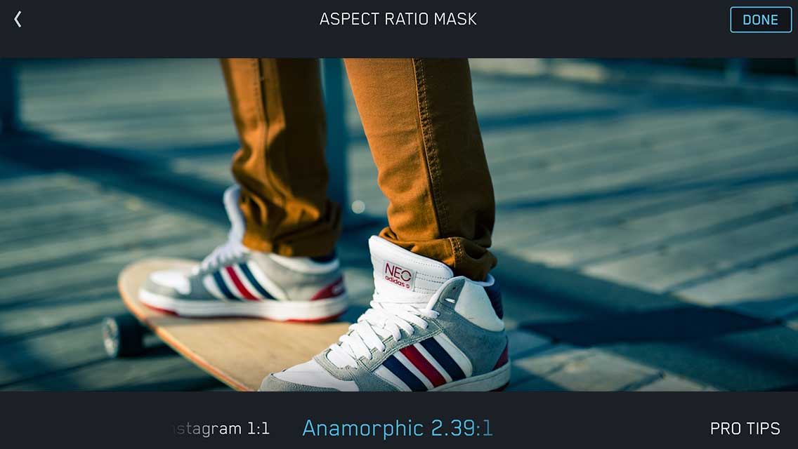 aspect ratio guide mask film settings filmakr 70mm 2 20 anamorphic 2 39 instagram vine ui user interface pro tips video making filmmaking ios app iphone ipad sneakers skateboard image