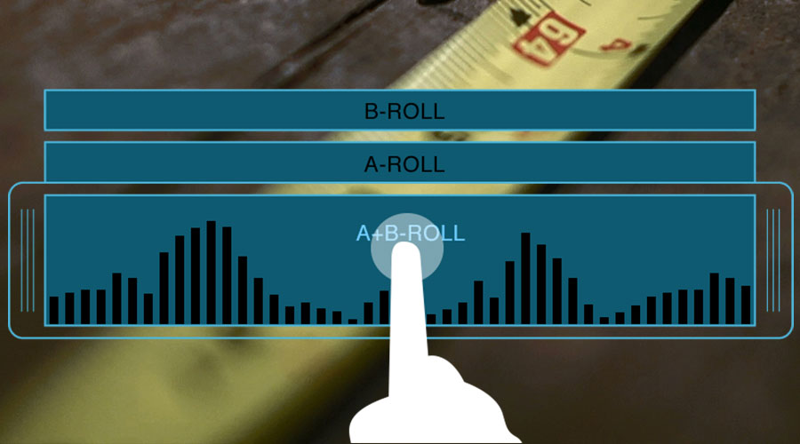 b-roll editing app filmakr drag drop clip a-roll interview trim filmstrip supporting shot furniture woodwork wood table measuring tape trilox timeline ui interface audio waveform video edit image