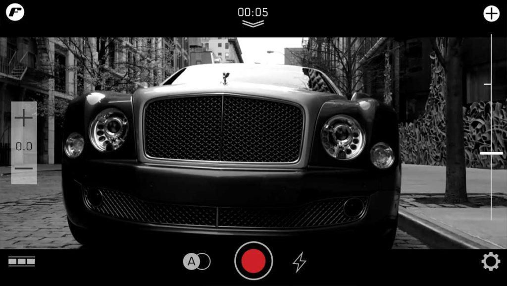 bentley filmakr camera app iphone video editing clips timeline filmstrip interface ui ux design car auto luxury automobile image