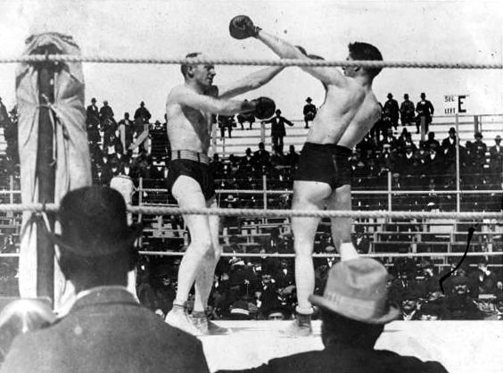 corbett fitzsimmons1897 boxing title fight world heavyweight match widescreen feature film gloves ring rope punch spectators corner documentary enoch j rector director carson city nevada st patrick day photo