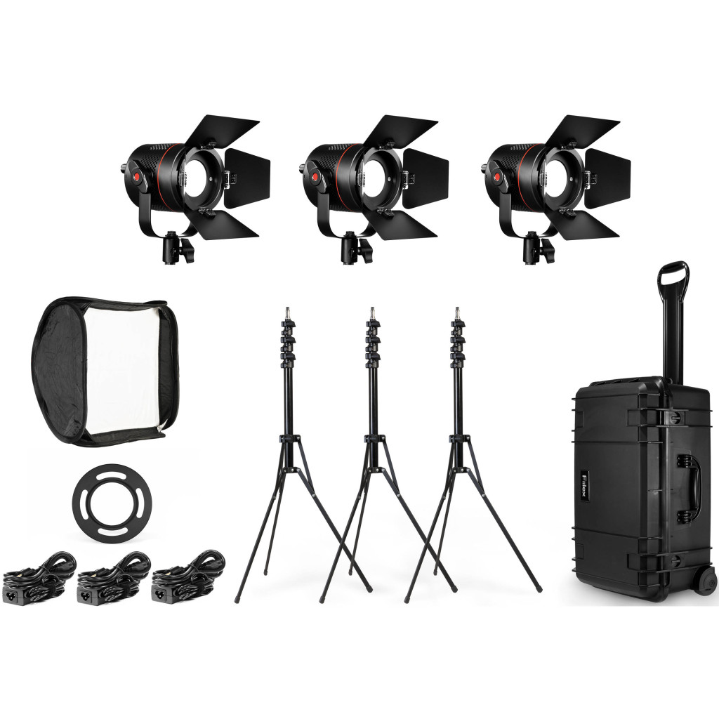 fiilex 301 3 light p360 led kit video gear film stands softbox case barndoors equipment power supply photo