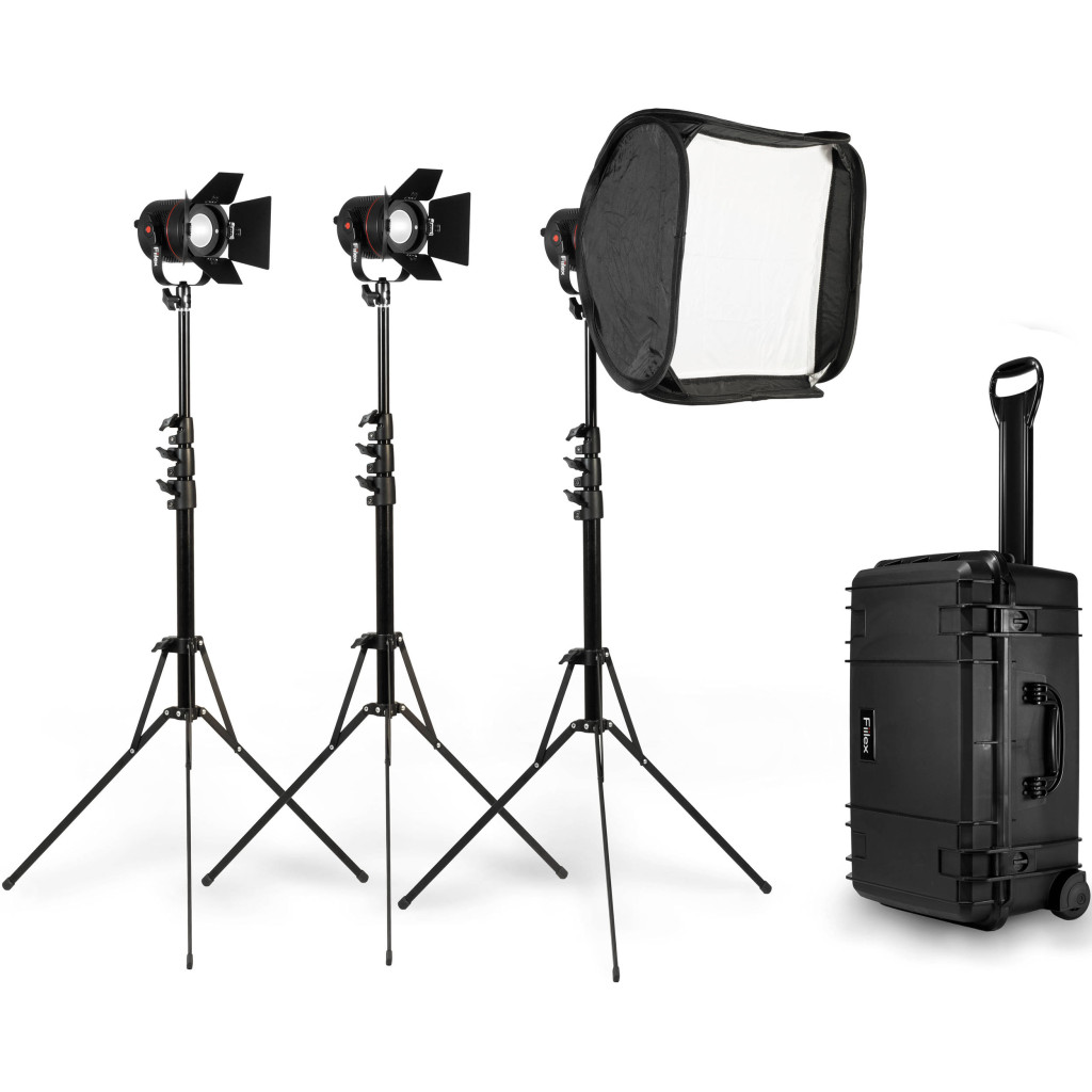 fiilex 301 3 light p360 led kit video gear film stands softbox case equipment photo