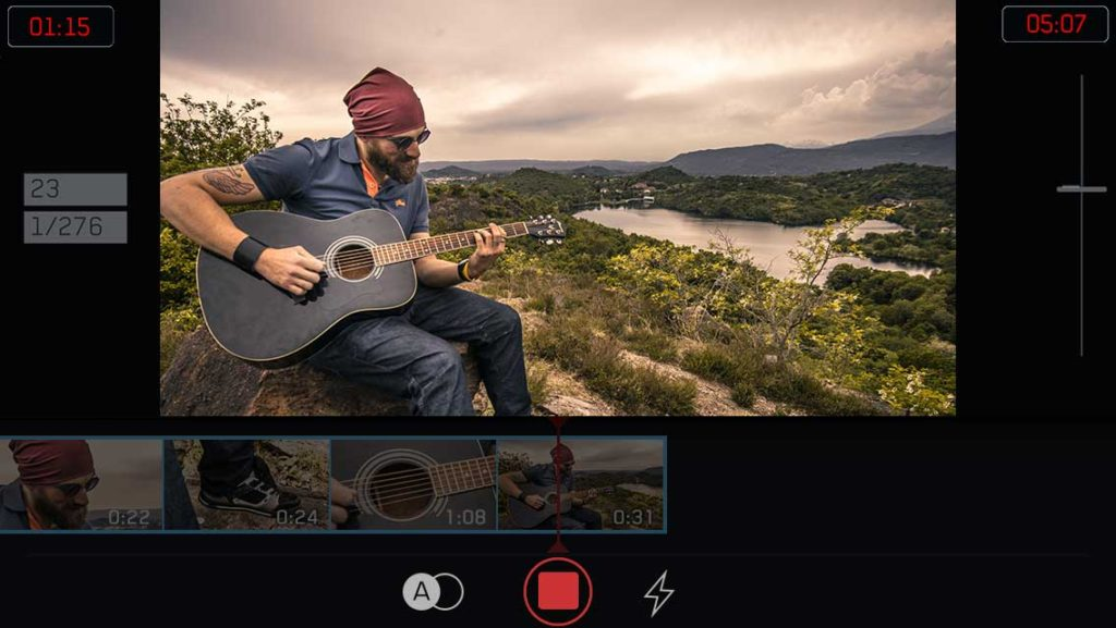 filmakr editing app iphone filmstrip interface ui ux design video camera clips timeline acoustic guitar player hipster sunglasses head scarf tattoo image
