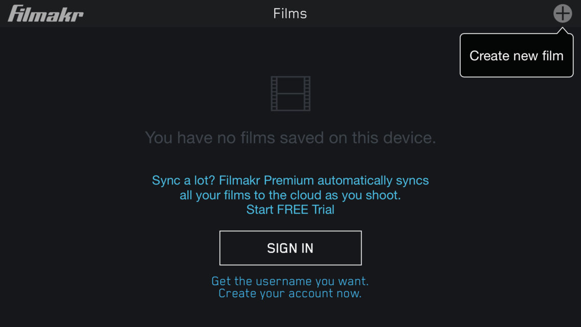 filmakr films list create new shooting save device automatic cloud sync account user name sign in free trial video instructions touch graphics design ui ux user experience interface iphone tutorial how to image