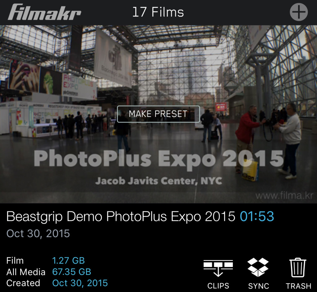 filmakr films list project beastgrip media size footage 4k video photo plus expo 2015 javits center make presets clips sync dropbox image