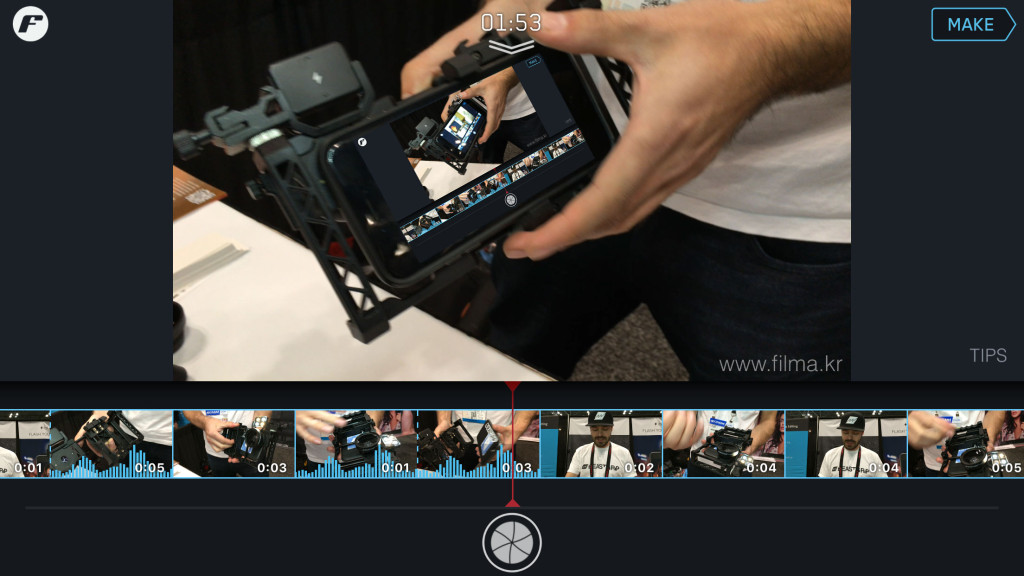 filmakr filmstrip b-roll beastgrip demo iphone app photoplus expo 2015 ui interface audio vadym cholenko best video app smartphone accesory cinematography videography iphoneography filmstrip image