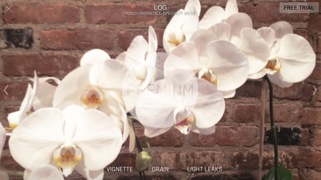 filmakr premium filter log monochromatic specialty film look vignette grain ui interface orchids photo image