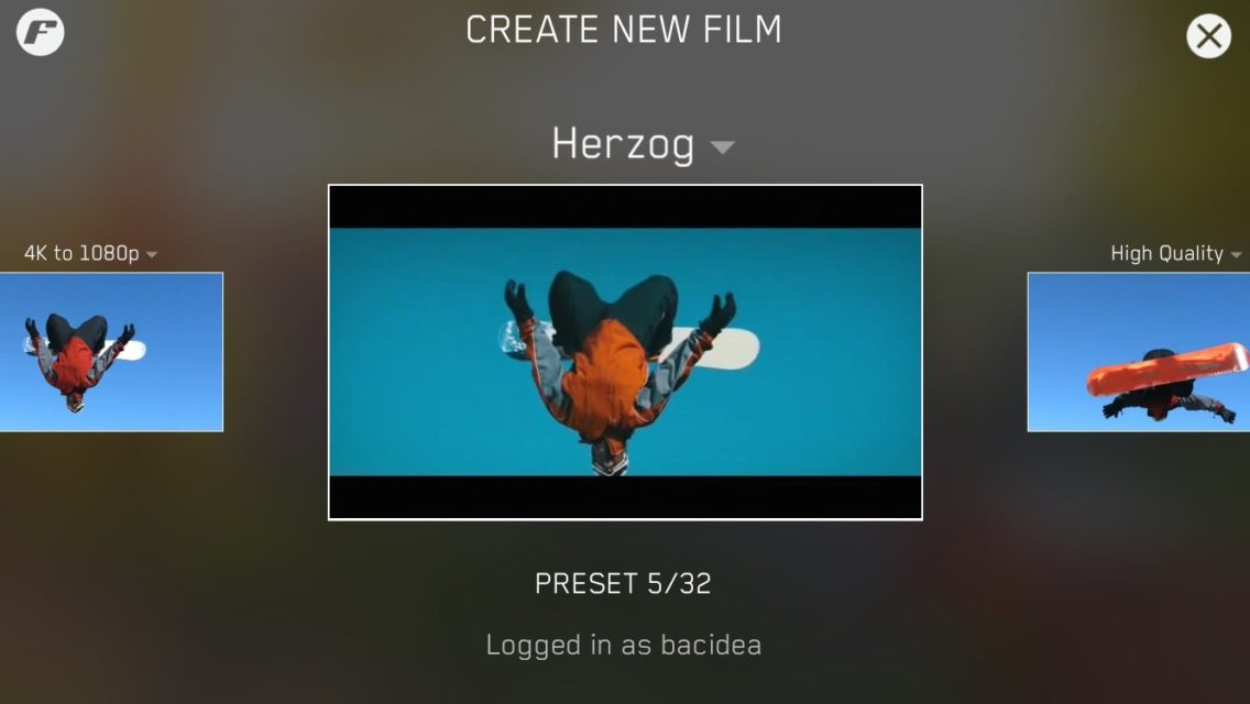 filmakr preset select screen beautiful user interface design herzog 4k video 1080p high quality create new film log in tech technology iphone app image