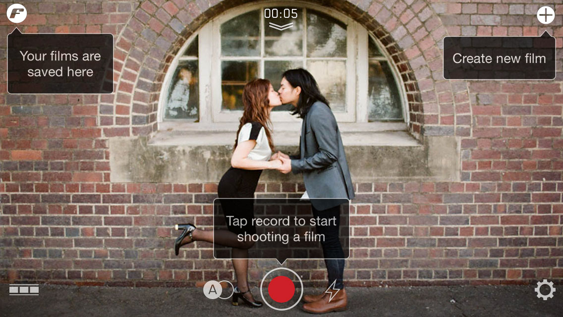 filmakr pro tip create new film save record shooting kiss boy girl high heels japanese editor editing video instructions touch graphics design ui ux user experience interface iphone tutorial manual how to image