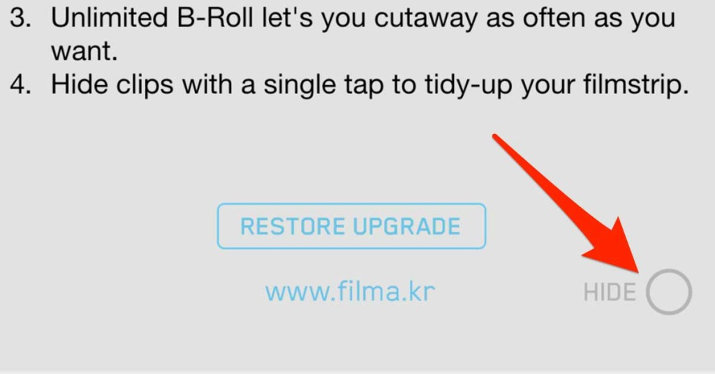how to hide filmakr premium upgrade messages tutorial demo instruction manual store screen user interface ui ux design facebook