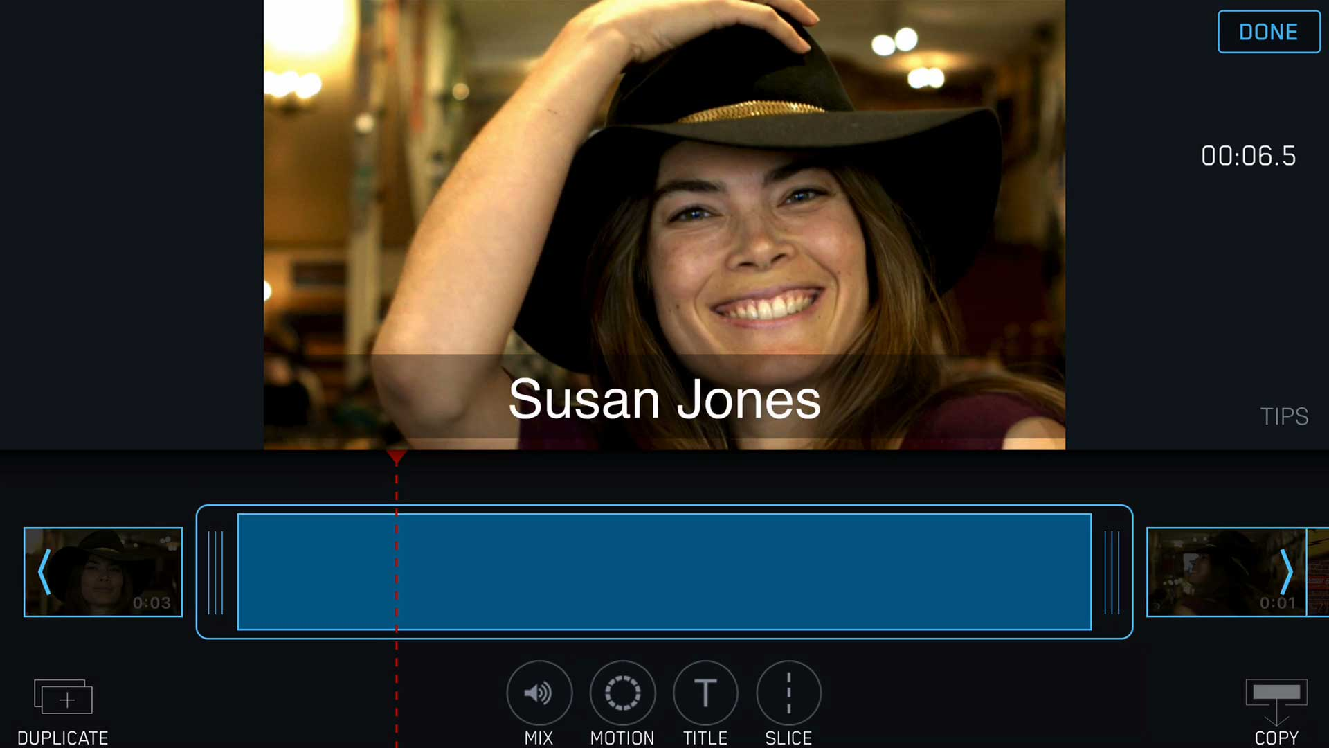 lower third title tool black bar filmakr editing app iphone video camera clips clipbar timeline filmstrip interface ui ux design audio mix motion effect slice pretty girl fashion hat graphics type animation image