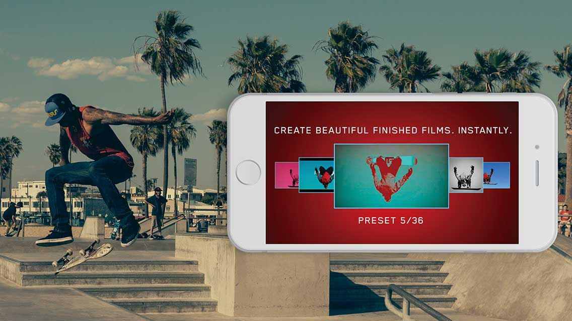 presets filmakr one tap film settings create new film finished films instantly skateboard jump skateboarder iphone video videography cinematography filters effects slow motion venice california palm trees image