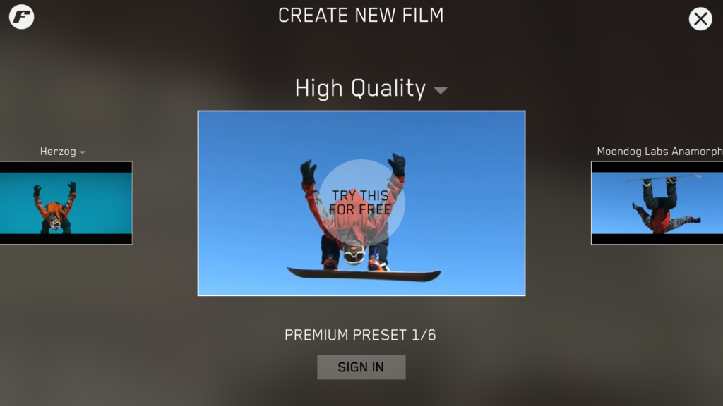 presets try this free badge restore purchases itunes apple id user sign in filmakr premium business upgrade ui interface image