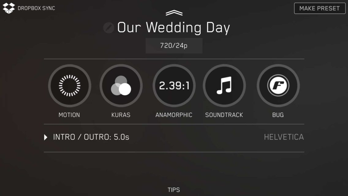 quick start guide film settings wedding day filmakr motion kuras filter anamorphic soundtrack bug logo intro outro 720 24p format video instructions touch graphics design ui ux user experience interface iphone tutorial manual how to image