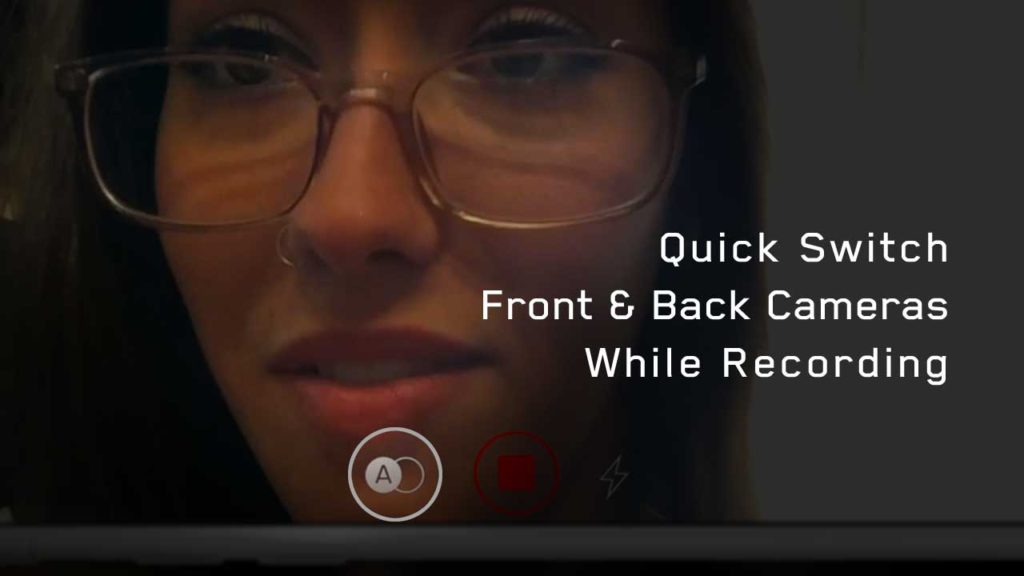 quick switch cameras iphone pretty girl glasses nose ring record button filmakr image