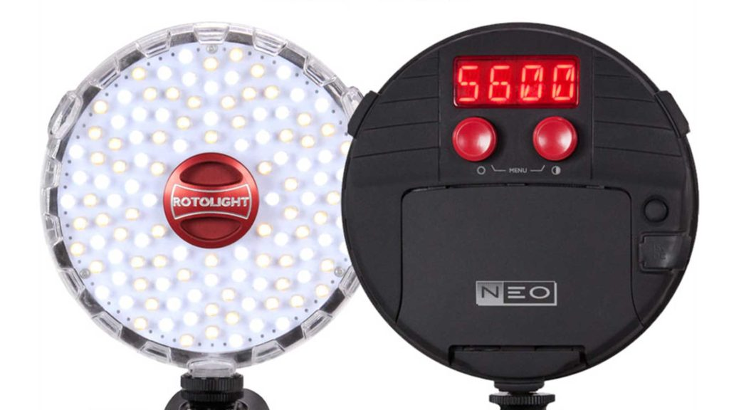 rotolight neo led on-camera light rl48 ringlight video equipment color temperature controls sfx flash lightening fire police siren professional production lighting photo