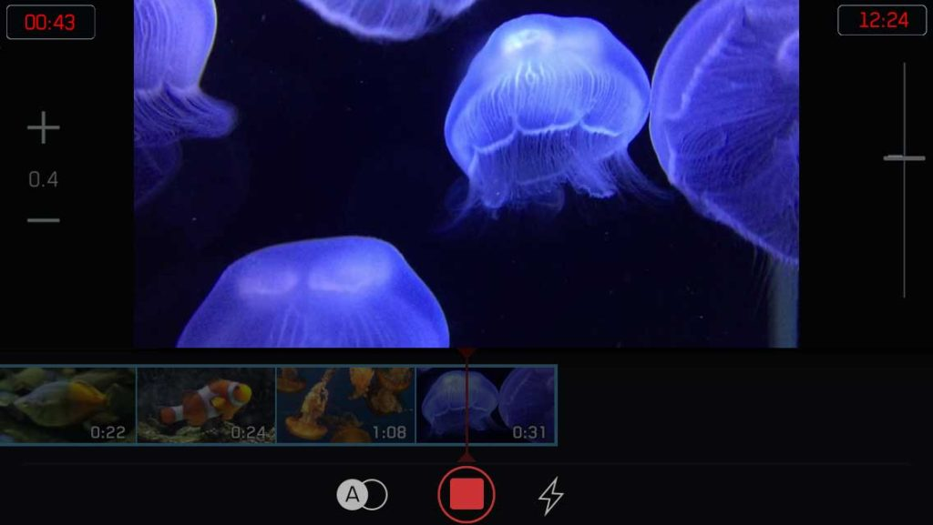 vancouver aquarium filmakr editing app iphone filmstrip interface ui ux design video camera clips timeline jelly clown fish nature image